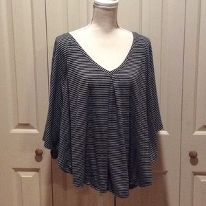 Black & Gray Striped Batwing Sleeve Soft Top
